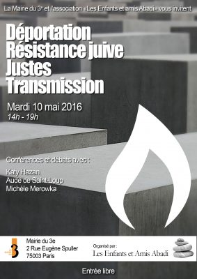 «Déportation, Résistance juive, Justes, Transmission» à la Mairie du 3e arrondissement de Paris